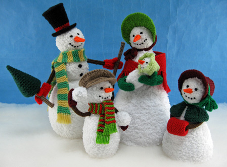 Snow Family knitted toys