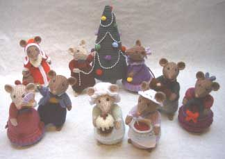 Knitting Patterns For Christmas Mice : Dickensian Party Mice - Alan Dart Alan Dart