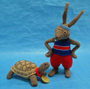 Tortoise and Hare knitted toys
