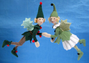 Holly and Ivy Elf knitted toys