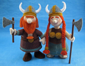 Victor and Vera Viking knitted toys